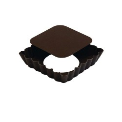 Tartelette carrée fond mobile cannelée anti-adhérent Gobel