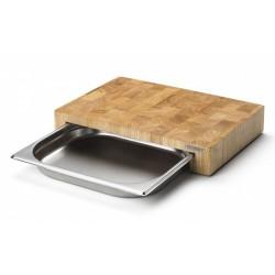 Planche à découper en hévéa avec tiroir -  39x27x5cm - Continenta