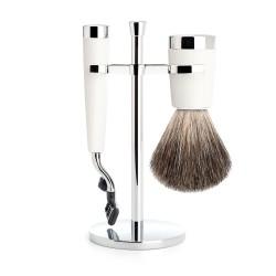 Set de rasage Liscio, poils gris avec rasoir mach 3, poignée en résine blanc - Mülhe