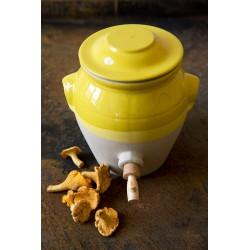 Pot vinaigre 3L en grès bicolor moutarde jaune – Manufacture de Digoin