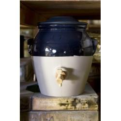 Pot vinaigre 3L en grès bicolor encre bleu nuit – Manufacture de Digoin