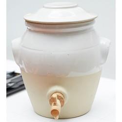 Pot vinaigre 3L en grès bicolor blanc – Manufacture de Digoin