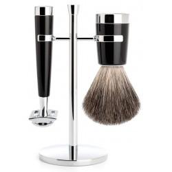 Set de rasage Liscio, poils gris - premier choix, avec rasoir de sûreté, poignée en résine noir