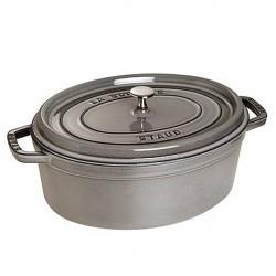 Cocotte en fonte ovale grise  - Staub