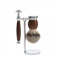 Set de rasage Sophist, poils pur argenté, avec rasoir de sûreté, poignée en bois de fer   - Mülhe