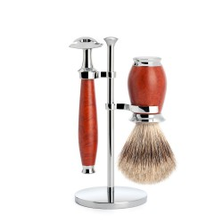 Set de rasage Purist, poils purs gris  avec rasoir de sûreté, poignée en bois de bruyère - Mülhe