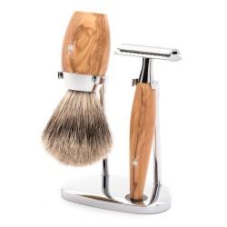 Set de rasage Kosmo, poils purs gris  avec rasoir de sûreté, poignée en bois d'olivier - Mülhe