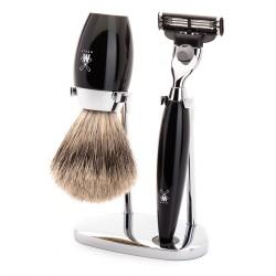 Set de rasage Kosmo, poils purs gris  avec rasoir Gillette Mach3, poignée en résine noir - Mülhe