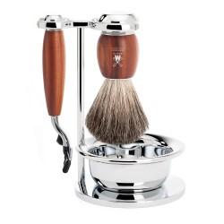 Set de rasage Vivo, poils gris  avec rasoir Gillette Mach3, poignée en bois de prunier - Mülhe