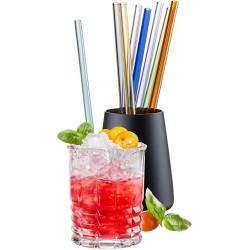 Set de 8 pailles en verre borosilicate de couleur et un écouvillon - Gefu