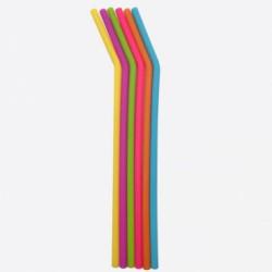 Set de 6 pailles en silicone de couleur et un écouvillon - Dotz